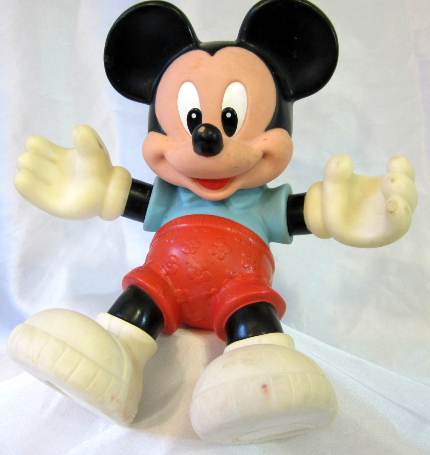 Mickey Mouse Toys : Mickey mouse plastic figure disney moveable doll toy vintage