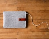 iPad Mini Sleeve - Grey Felt and Brown Leather