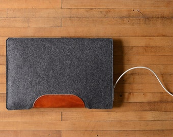 "MacBook Air / MacBook Laptop Sleeve - Charcoal Felt and Brown Leather Patch - Short Side Opening for 11"" or  13"" MacBook Air or 12"" MacBook"