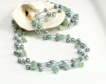 Aquamarine and Pearl Silk Long Chain, Crocheted Silk Jewelry Necklace & Wrap Cuff, Pastel Aqua Gems Pearls, March Birthstone, Spring Fashion