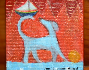 Original painting folk art dog