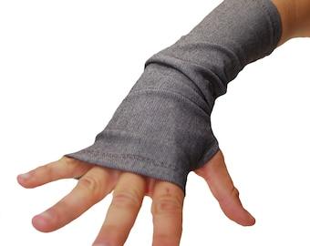 Arm Warmers in Brown Faux Denim - Sleeves - Fingerless Gloves