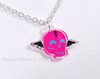 Flying Skully hot pink acrylic necklace on silver chain for the slightly scary