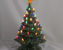15 inch Traditional Ceramic lighted Christmas Tree Green Ready to ship # T81G