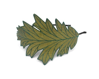 Oak Leaf Headband- Olive Green with Teal Embroidery