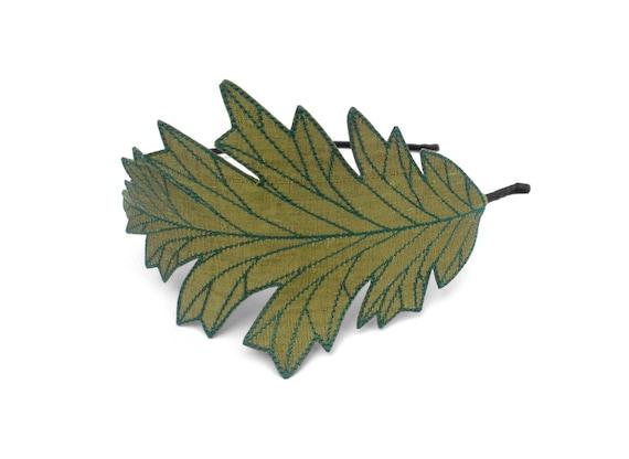 Oak Leaf Headband- Olive Green with Teal Embroidery
