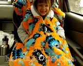 CUSTOM Car Seat Ponchos - Hooded Car Seat Blanket -  Reversible - Quilted