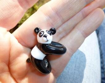 Glass dreadlock Bead, 8mm hole, Panda Bear Bead, dread bead, dreadlock decoration