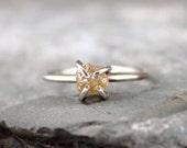 Raw Uncut Rough Diamond Engagement Ring  - 14K White Gold Engagement Ring -  Rough Diamond Gemstone Ring - April Birthstone - Stacking Rings