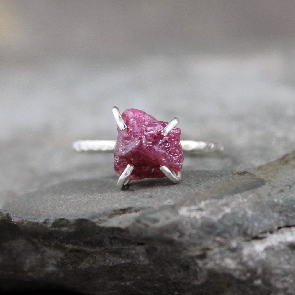 Raw Ruby Ring Rough Uncut Red Ruby Sterling Silver