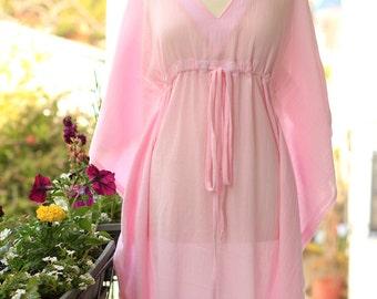 Kaftan Maxi Dress - Beach Cover Up Caftan in Light Pink Cotton Gauze - 20 Colors
