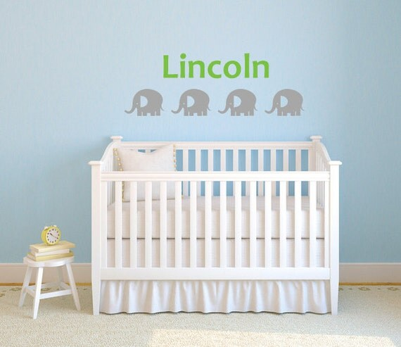 Baby Elephant Name Wall Decal Sticker  DB247