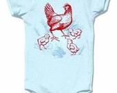 Organic Farm Chicken Infant Bodysuit, organic blue short sleeve, baby and kids sizes, Hen & Chicks design