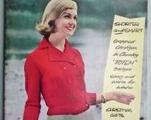 Vintage Magazine 1950s Sewing and Knitting - Stitchcraft November 1958 - 50s knitting patterns women's cardigans - home DIY scene embroidery