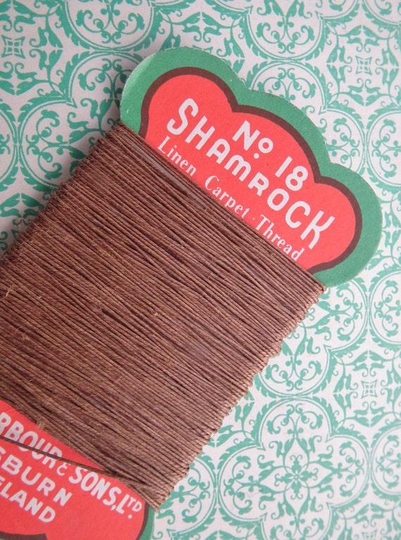 Vintage Linen Carpet Thread Shamrock No. 18 Barbour Ireland Irish Mending Darning Thread original card