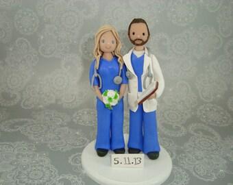 Cake Topper Customized Doctor & Nurse Wedding