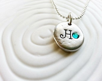 Personalized Birthstone Initial Necklace- Hand Stamped Mother's Necklace
