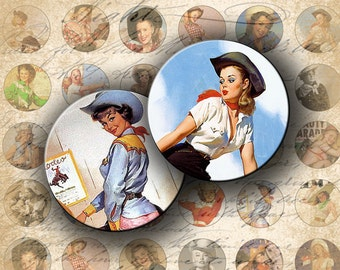 INSTANT DOWNLOAD Digital Collage Sheet Cowgirls 1 inch Circles for your Artwork - DigitalPerfection digital collage sheet 056