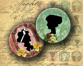 INSTANT DOWNLOAD Digital Collage Sheet Romantic Silhouettes 1 inch Circles for your Artwork - DigitalPerfection digital collage sheet 752