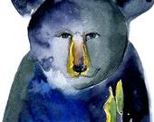 Black Bear Friend Vermont Forest Woods Art Print Canvas Greeting Card