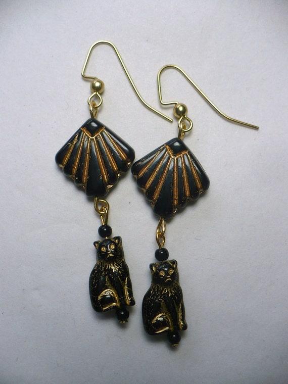 Karnia's Art Deco Egyptian Revival Goddess Bast Bastet Kitty Cat Dangle Earrings