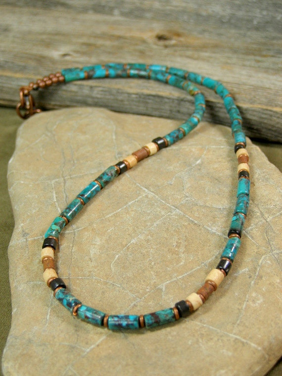 mens necklace turquoise necklace heishi necklace mans