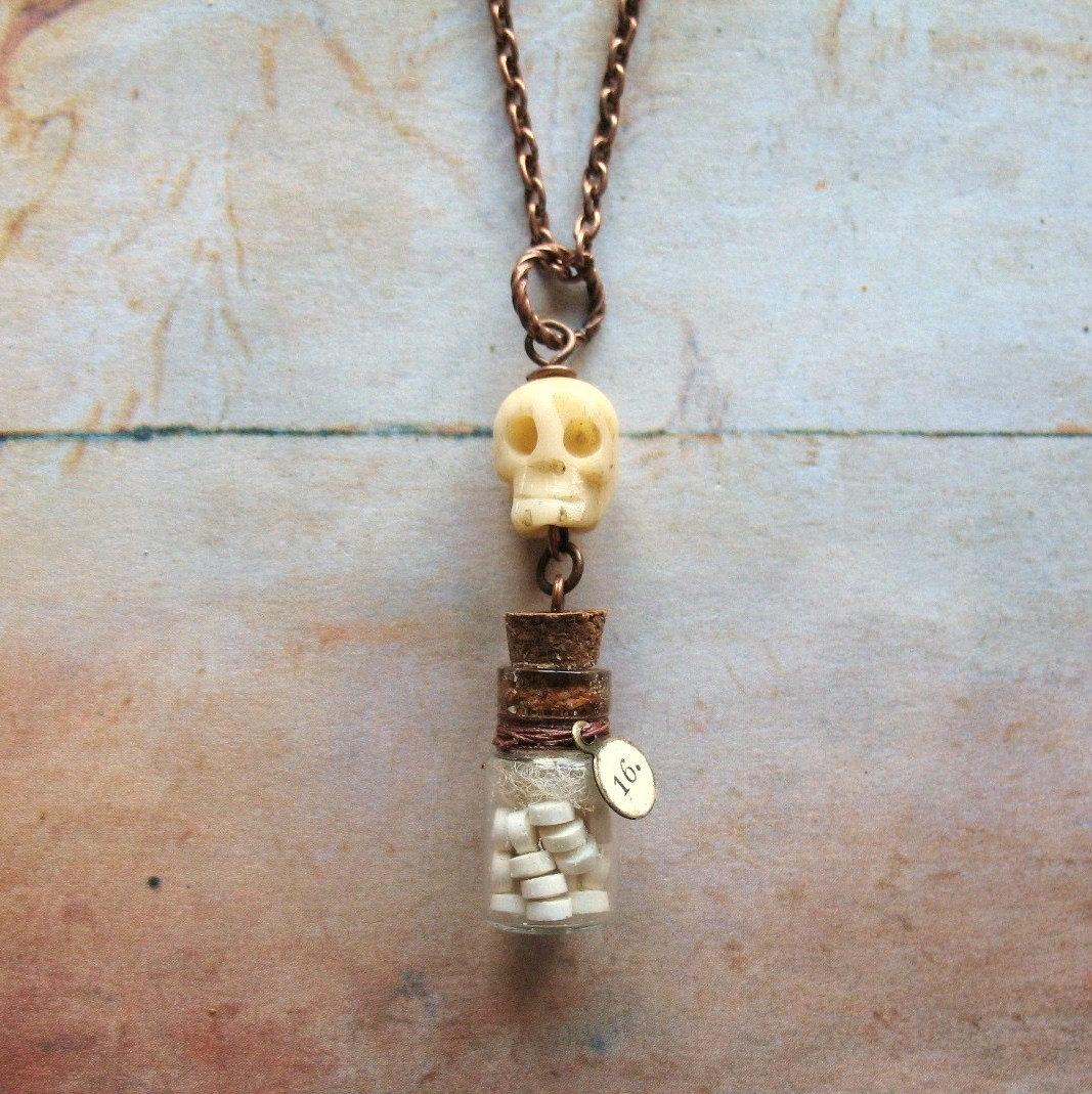 Medicine bottle necklace handmade unisex copper chain for Pill bottle jewelry