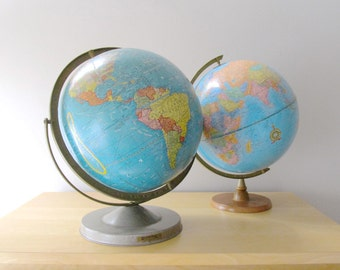 12 inch scholastic world globe with double axis duogyral metal base 1950 - 1960