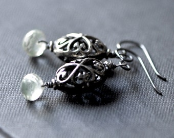 Sterling Silver Filigree Earrings with Green Amethyst Briolette, Oxidized Silver and Semi Precious Stone