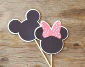 Mickey and Minnie Mouse Party - Set of 24 Pink Minnie and Mickey Cupcake Toppers by The Birthday House