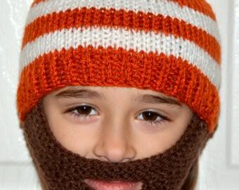 Kids Beard Hat, Knitted Beard Hat, Kids Beard Beanie, Kids-All Sizes, All Colors, Bearded Cap, Bearded Hat, Bearded Beanie