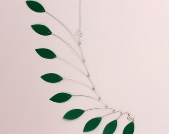 Green Mobile Sculpture -  Kinetic Art - Ceiling Mobile for your Home or Office - Wedding Gift - Housewarming Gift - 15w x 25t - P166