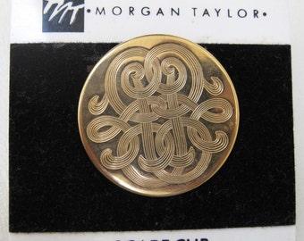 80s Morgan Taylor round engraved goldtone scarf clip