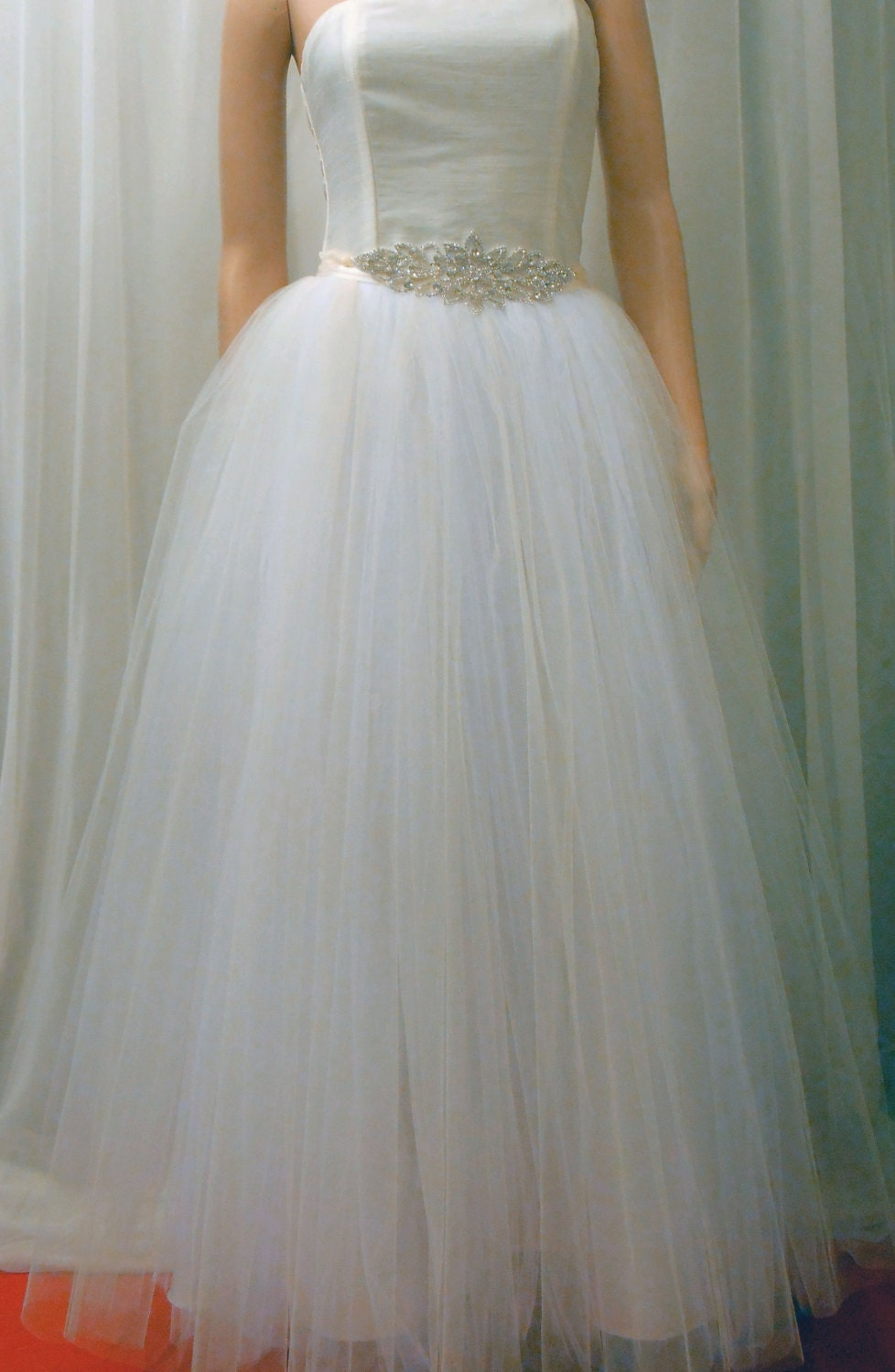 Tutu wedding gown skirt overlay tulle skirt with by for Wedding dresses with tulle skirts