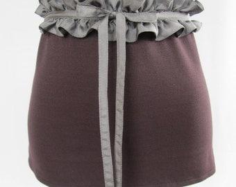 Gathered belt, gray, 100% silk