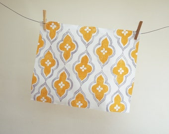 Yellow Ochre and Gray ogee design hand block printed linen fabric by the yard