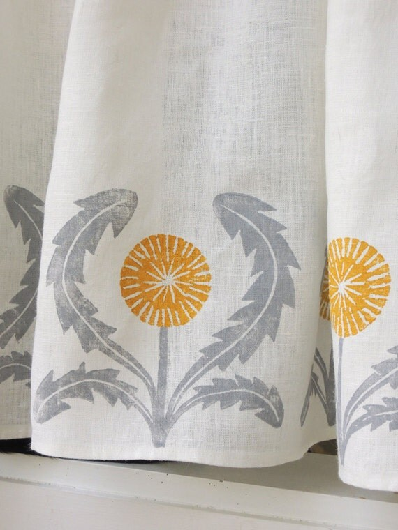 Dandelion cafe curtain hand printed in gray ochre green yellow coral