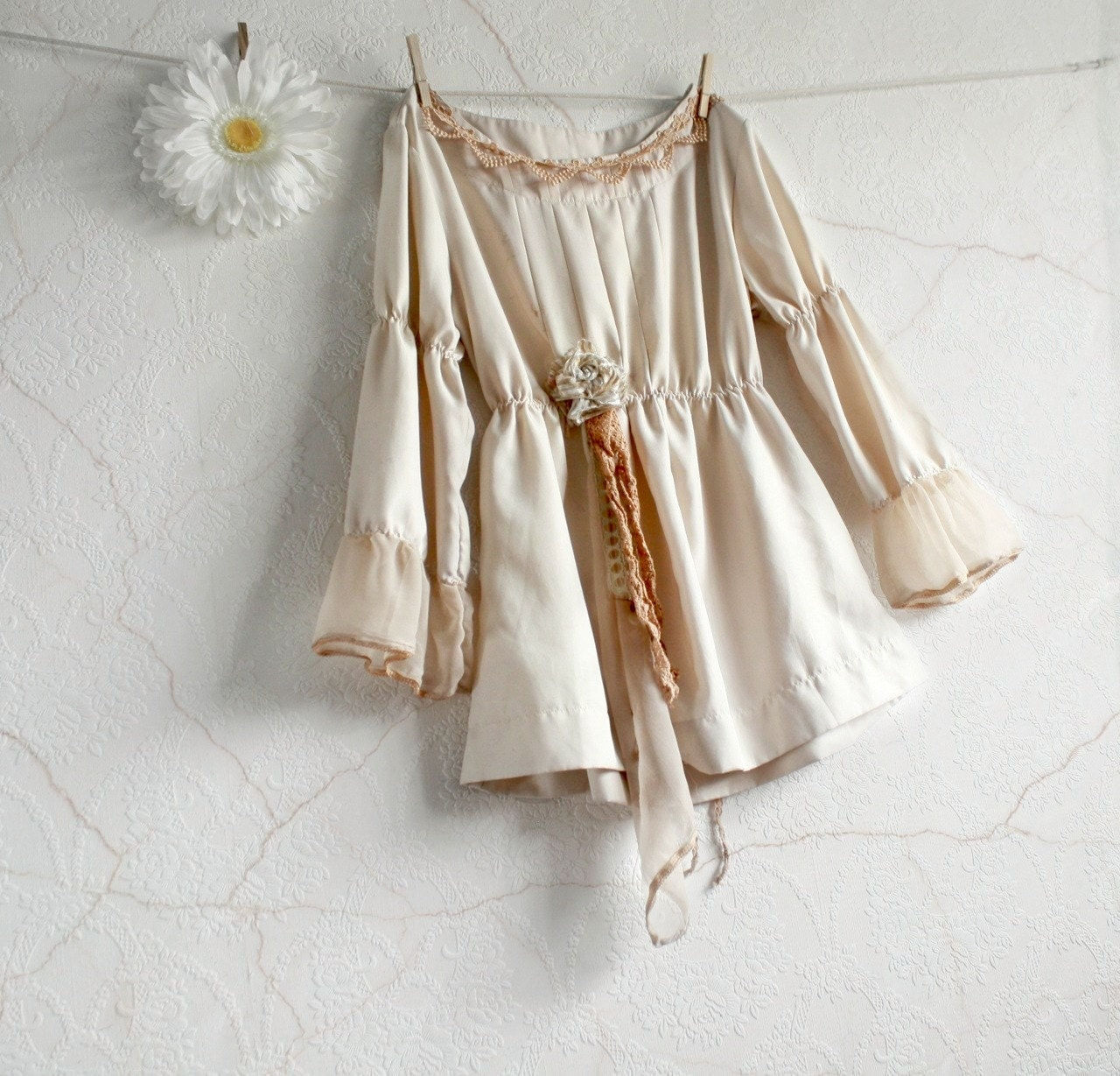 Cream blouse shabby chic clothing women 39 s shirt eco for Lampe style shabby chic