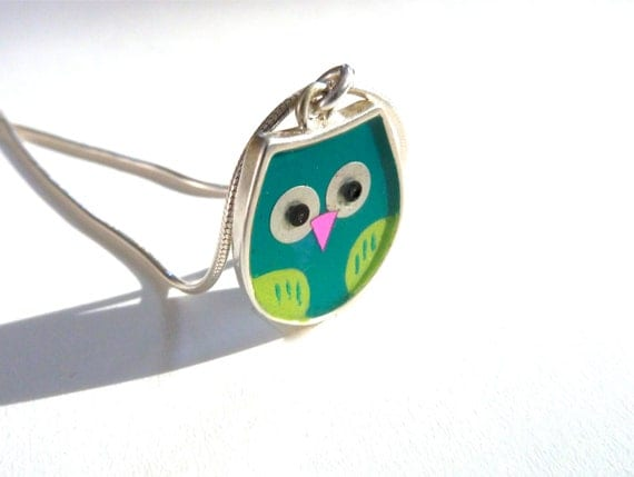 Green owl necklace, Sterling Silver, Mixed media,hand made