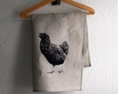 Hand screen printed teatowel with Inger the Hen by strandredesign