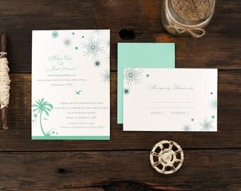 Beach Fireworks Wedding Invitation - Tropical Destination Palm Tree Invite Set