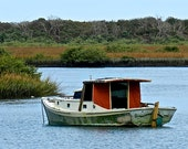 Florida Landscape Photography, Wooden Boat Print, Blue Waterscape, Marshlands Nautical Wall Art, Red Boat, St Augustine FL, Little Boat Art