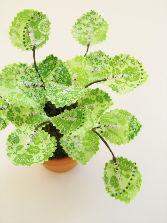 Fabric Leaf Potted Ivy Plant Lime Green Damask Floral By