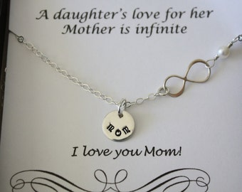 Infinity Mother Necklace, Infinity Jewelry, Mom Gift, Thank You Card, White Pearl, Sterling Silver Necklace