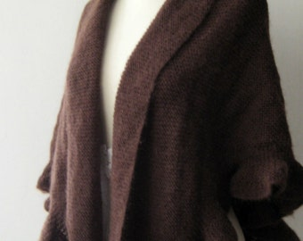 Knitting Chocolate Brown Shawl Wrap  Hand Knitted Ruffle Mohair Evening Shrug for Mother's day