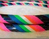 BEST SeLLING Hula Hoop -  'Black Galaxy Rainbow Mantra GLoW' - Glow In The Dark Travel Hoop - UV Reactive // GLoWS in Blacklight TOO