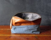 10-inch Zipper Pouch: striped denim and eco leather