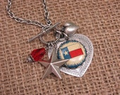 For the Love of Texas - Upcycled Pinback Button Texas Themed Charm Necklace - Red, White, Blue - Silver Toggle Clasp