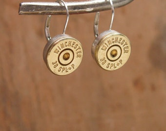 Bullet Jewelry - STERLING SILVER Bullet Casing Leverback Earrings - Holiday Gift - Bullet Designs - Gun Jewelry