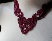 Burgundy Merlo Lace Applique for Lyrical Dance, Garments,  Costume Design CA 123